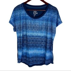 Made for Life Blue Pattern Size Large Tee